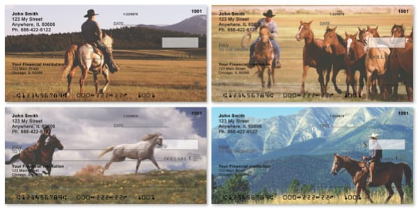 Cowboy and Horses Personal Checks