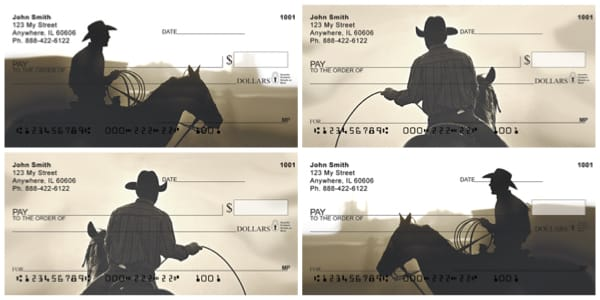 Dusty Cowboys and Horses Personal Checks