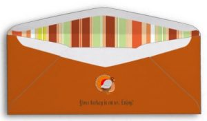 Thanksgiving Turkey Check Envelopes