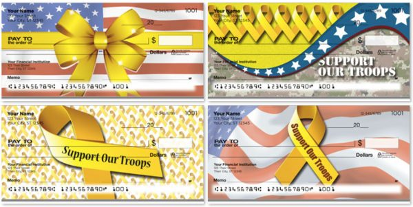 Yellow Ribbon Support Our Troops Personal Checks