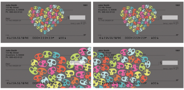 Colorful Heart of Skulls Checks