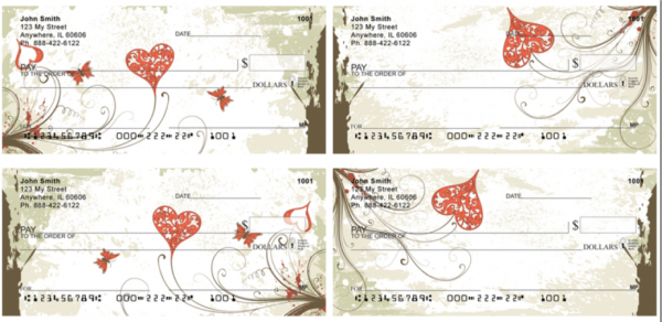 Grunge Heart Personal Checks