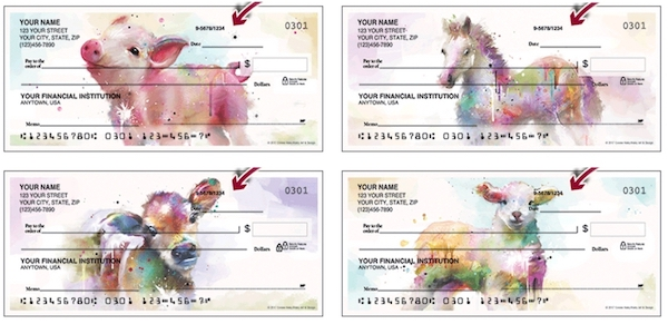 Watercolor Farm Animals Personal Checks