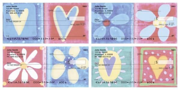 Hearts And Flowers Personal Checks