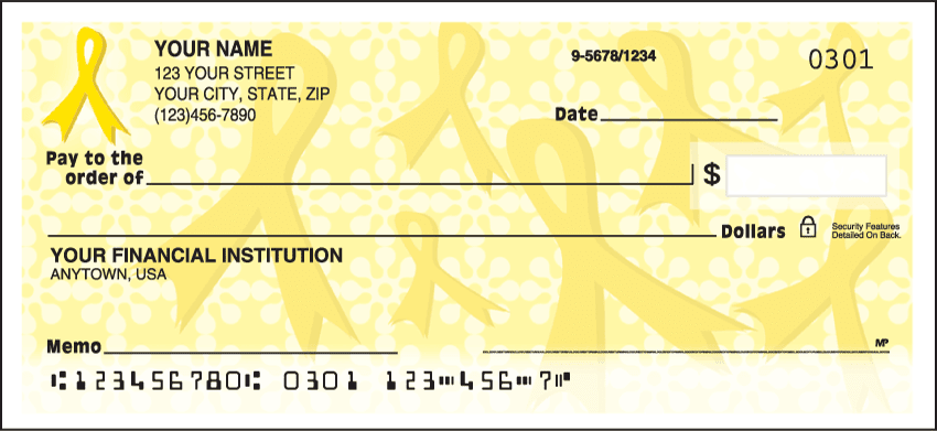 Gold Ribbons of Support Charitable Personal Checks
