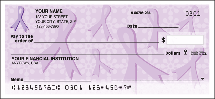 Purple Ribbons of Support Charitable Personal Checks