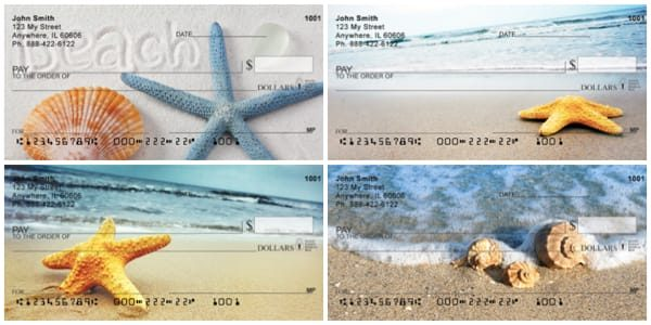 Beachy Blue Starfish and Shell Checks Personal Checks