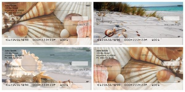 Lifes Treasure Beach Coral and Sea Shells Personal Checks