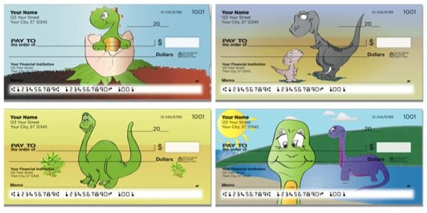 Cartoon Dinosaur Personal Checks