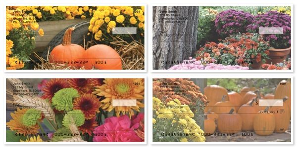Colorful Fall Mums Personal Checks