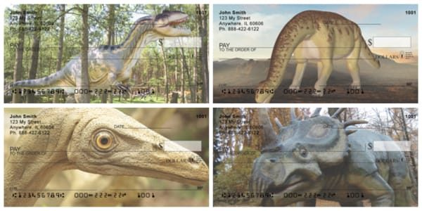 Dinosaurs Walk In The Park Personal Checks