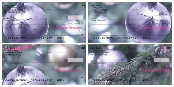 Purple Christmas Ornaments Personal Checks