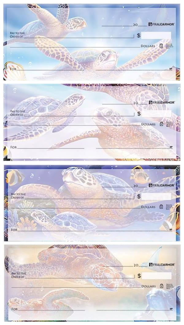 Artistic Sea Turtle Personal Checks by Steve Sundram