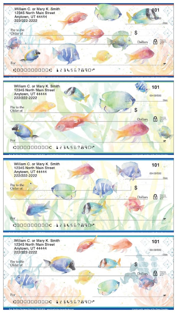 Watercolor Fish Personal Bank Checks