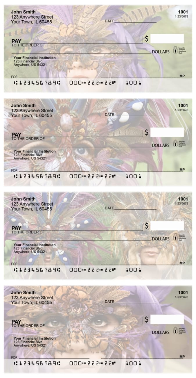 Feathered Masks Personal Checks